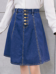 Women's A Line Solid Denim Skirts,Casual/Daily Simple High Rise Knee-length Button Cotton Micro-elastic Spring Summer