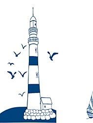 Tower Lighthouse Seagulls Wall Stickers Blue Flying Bids Wall Decals Home Decor For Kids Room