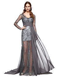 Formal Evening Dress - Celebrity Style A-line V-neck Sweep / Brush Train Chiffon with Lace Pleats