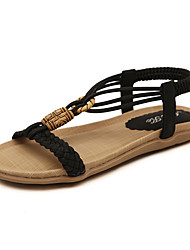 Sandálias-Solados com Luzes-Rasteiro-Preto Amêndoa-Couro Ecológico-Social Casual