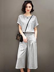 2017 primavera e no verão nova Miss Han Ban magro temperamento casuais de duas peças terno calças perna larga moda