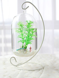 Mini Aquariums Decoration Glass Fish Tank Transparent White Rack