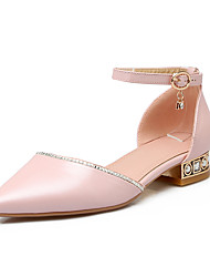 Women's Sandals Spring Summer Fall Other PU Office & Career Casual Dress Low Heel Chunky Heel Buckle White Pink