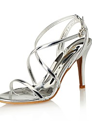 Women's Sandals Club Shoes Comfort Leather Synthetic Wedding Party & Evening Dress Stiletto Heel Others Black White Silver