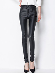 Feminino Skinny Chinos Calças-Cor Única Casual Moda de Rua Cintura Alta Botão Zíper PU Com Elástico Outono Com Molas