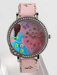 Fashion Watch Quartz / PU Band Cartoon Casual Pink Beige Brand Strap Watch