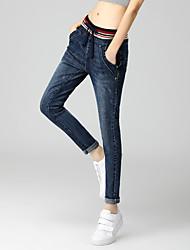unterzeichnen Streifen elastische Taillenjeans der weiblichen Taille Fett mm XL Stretch-Hosen Füße Schnürung