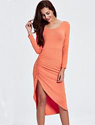 Moulante Gaine Tricot Robe Femme Habillées Soirée / Cocktail Soirée Sexy,Couleur Pleine Col Arrondi Asymétrique Manches Longues Orange