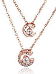 Women's Pendant Necklaces Chain Necklaces AAA Cubic Zirconia Zircon Silver Plated Gold Plated Rose Gold Plated Alloy RoundBasic Unique