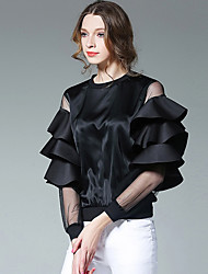 Women's Going out Casual/Daily Beach Sophisticated Spring Shirt,Solid Round Neck Long Sleeve White Black Silk Medium