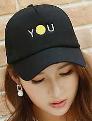 Unisex Cotton Smiling Face Embroidery Dome Baseball Cap