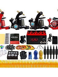Complete Tattoo Kit 4 alloy machine liner & shader 4 Tattoo Machines LCD power supply Inks Shipped Separately