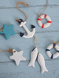 Wall Decor Wood Modern Wall Art Mini Sling Anchor Starfish Fish And Life Buoy