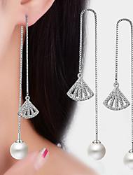 AAA Cubic Zirconia Geometric Fan Drop Earrings Pearl Ball Earrings Jewelry Dangling Style Tassel Wedding Party Daily CasualPearl Alloy Cubic