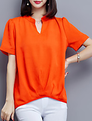 Women's Plus Size Casual/Daily Street chic Summer Blouse,Solid V Neck Short Sleeve Pink White Black Orange Polyester Thin
