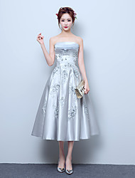Cocktail Party Prom Dress A-line Strapless Tea-length Satin with Appliques Lace
