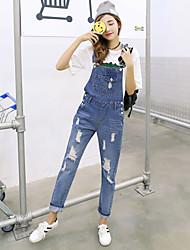 registe Primavera coreano Instituto de vento buracos solta macacão jeans suspensórios calças slim era meia-calça fina