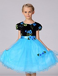 Ball Gown Knee-length Flower Girl Dress - Organza Jewel with Flower(s) Sash / Ribbon