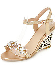Damen-Sandalen-Hochzeit Büro Kleid-PU-Keilabsatz-Club-Schuhe-Silber Gold
