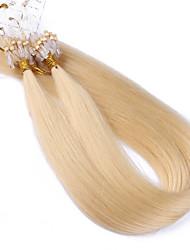 melhor nota 10a # 613 cor do cabelo loiro lixívia micro esferas anel laço do cabelo extensões de seda 100grams linha reta do Brasil virgem