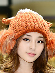 Women Woven Autumn Winter Knitted Fabric Doll Hair Ball Corners Wool Hat