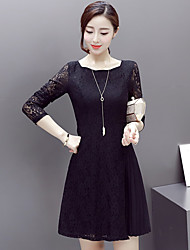 Sign a 2017 spring new Slim long-sleeved dress ladies stitching lace dress female backing skirt