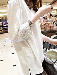 hiver nouvelle version coréenne de manchettes à paillettes blanches grands chantiers en vrac longue section à manches longues de t-shirt