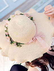 Women's Fashion Wide Brim Floppy Hat Straw Hat Sun Hat Beach Cap Casual Garland Holiday Summer