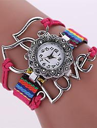 Damen Modeuhr Armband-Uhr Quartz Legierung Band Heart Shape Bequem Schwarz Weiß Blau Braun Rosa Marke
