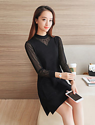 Korean Slim bottoming long-sleeved knit dress stitching gauze sweater and long sections Sign