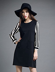 Sign spring European and American fertilizer to increase size women fat mm striped sleeve dress was thin backing