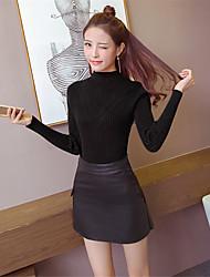 signent une nouvelle couverture korean chemise à col roulé à manches longues demi-pull en tricot automne femme et en hiver, plus
