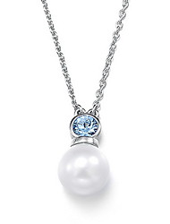 Pendant Necklaces Crystal Pearl Oval Basic Dangling Style Fashion Silver Jewelry Daily Casual 1pc