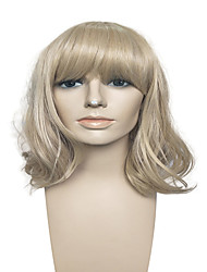 Hot Sale Capless Medium Long Wig Blonde With Air Bangs Synthetic Fiber Wig Women Wig