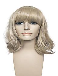 venta sin tapa medio caliente rubia peluca larga con el aire golpea la peluca de las mujeres peluca de fibra sintética