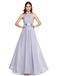 2017 TS Couture® Formal Evening Dress - Elegant A-line High Neck Ankle-length Charmeuse with Beading Sash / Ribbon Bow(s) Pleats