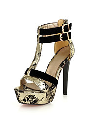 Women's Sandals Summer Club Shoes Novelty Patent Leather Customized Materials Party & Evening Dress Stiletto HeelBuckle Split Joint