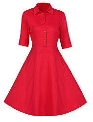 Women's Casual/Daily Formal Party Vintage A Line Chiffon Swing Dress,Solid Shirt Collar Midi ½ Length Sleeve Red BlackCotton
