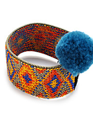 Lureme Nepal Ethnic Weaving Totem Knitted Stretch Bracelet with Pom Pom for Women and Girls-Fluo