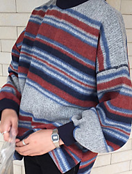 Harajuku style Korean spring women retro hit color stripe loose sweater female student girlfriends fitted striped sweater woman