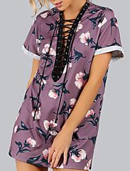 Damen Blumen Sexy Retro Ausgehen Lässig/Alltäglich T-shirt,Tiefes V Sommer Herbst Kurzarm Polyester Mittel