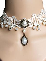 Collier court /Ras-du-cou Bijoux Chaîne unique Imitation de perle Dentelle Basique Mode Blanc Bijoux PourMariage Soirée Occasion spéciale