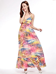 Women's Beach Boho Chiffon Swing Dress,Print Backless Strap Maxi Sleeveless Polyester Multi-color Spring Summer Mid Rise Micro-elastic