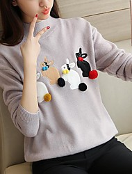 Take half high collar loose women in the 2017 Korean female winter sweater coat sweater jacket cute bunny decoration