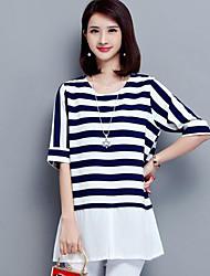 Tee-shirt Femme,Rayé Grandes Tailles Décontracté / Quotidien simple Eté ½ Manches Col Arrondi Bleu Noir Polyester Moyen