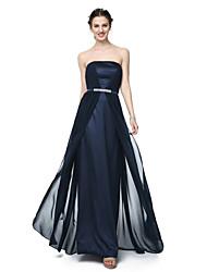2017 Lanting Bride® Floor-length Chiffon Elegant Bridesmaid Dress - Sheath / Column Strapless with Beading Sash / Ribbon Pleats