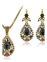 Jewelry Set Gemstone Resin Rhinestone Gold Plated Simulated Diamond Alloy Vintage Bohemian Jewelry Black Jewelry setParty Special