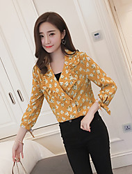 2017 новых женщин большого размера&# 39, S костюм воротник цветочные корейский случайный с длинными рукавами блузки