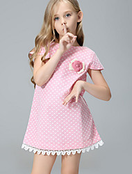 Girl's Solid Dress,Cotton Summer Fall Short Sleeve