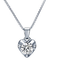 SILVERAGE Necklace AAA Cubic Zirconia Chain Necklaces Jewelry Daily Heart Basic Design Sterling Silver Women 1pc Gift Silver